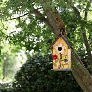 Glitzhome 10.24''H Distressed Solid Wood Birdhouse w/Flower