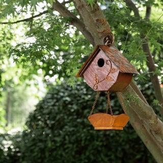 """Glitzhome 12.91""""H Distressed Solid Wood Birdhouse w/Bird Feeder"""
