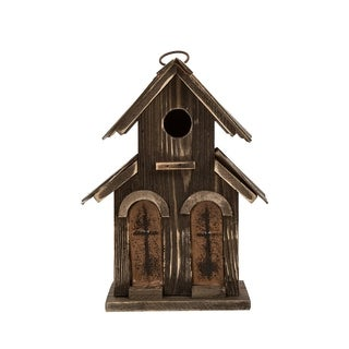 "Glitzhome 10.04""H Distressed Solid Wood Birdhouse w/Two-door"