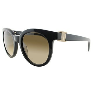 Salvatore Ferragamo Round SF 783S 001 Women Black Frame Brown Gradient Lens Sunglasses
