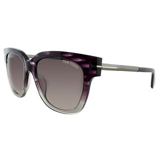 Tom Ford Square TF 436 Tracy 83T Womens Violet Melange Frame Grey Gradient Lens Sunglasses