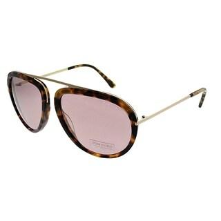 Tom Ford Aviator TF 452 Stacy 53Z Unisex Blonde Havana Frame Pink Mirror Lens Sunglasses