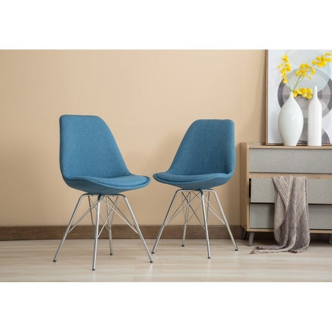 Porthos Home Set of 2 Upholstered Dining Chairs with Chrome Metal Legs