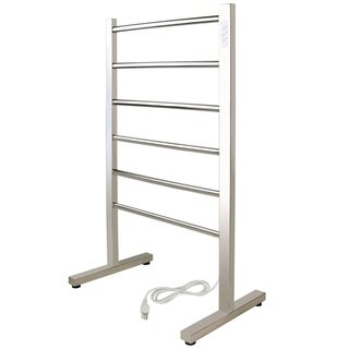 WarmlyYours Premier Collection 6-Bar Ibiza Freestanding Electric Towel Warmer Plug-in Polished Chrome