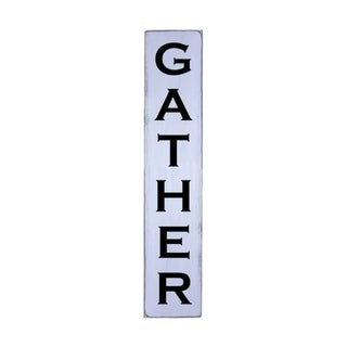 GATHER Handmade Farmhouse Wall Art Vertical Wood Sign 10 in x 48 in