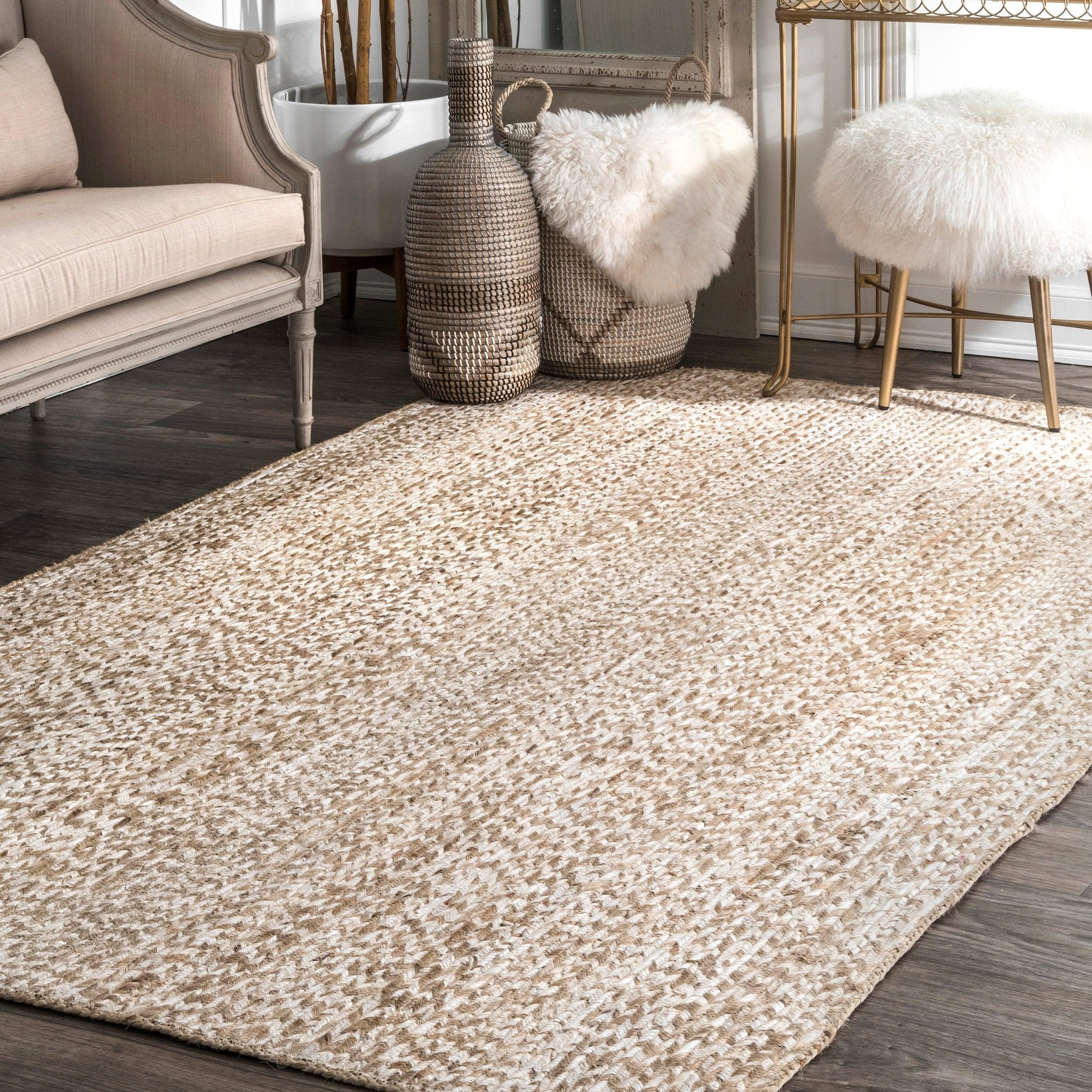Nuloom Off White Handmade Braided Natural Fiber Jute Cotton Area Rug 7 X27