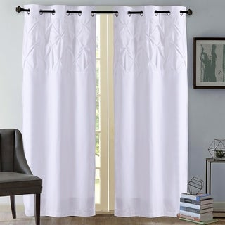 "Hudson Pintuck Window Curtain Panel Pair (84""x38"") White"