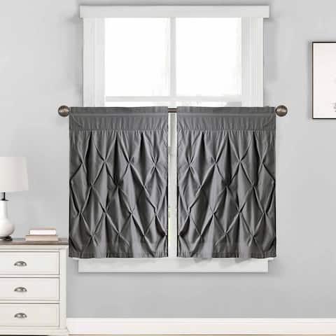 "Hudson Pintuck Window Curtain Tier Pair (24""x30"") Grey - 24 inch"