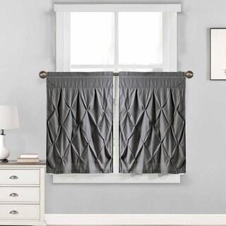 "Hudson Pintuck Window Curtain Tier Pair (24""x30"") Grey"