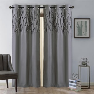 "Hudson Pintuck Window Curtain Panel Pair (96""x38"") Grey - 96 inch"
