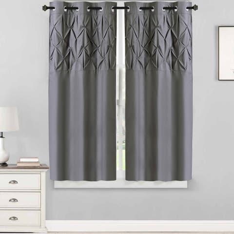 "Hudson Pintuck Window Curtain Panel Pair (63""x38"") Grey - 63 inch"