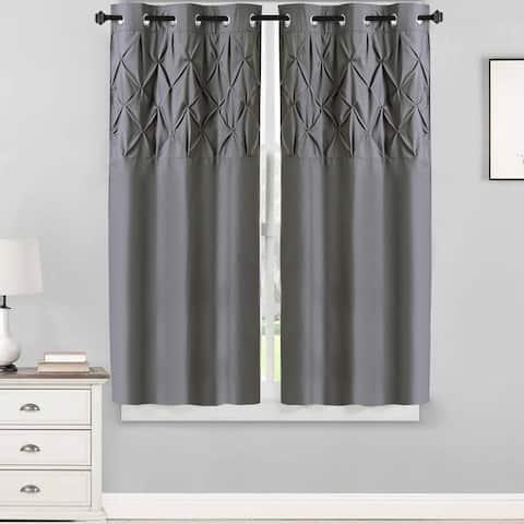 "Hudson Pintuck Window Curtain Panel Pair (63""x38"") Grey - 63 inch"