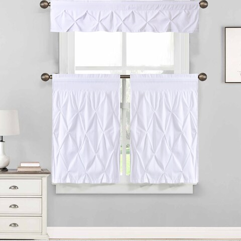 "Hudson Pintuck Window Curtain Tier and Valance Set (24""L or 36""L) White"