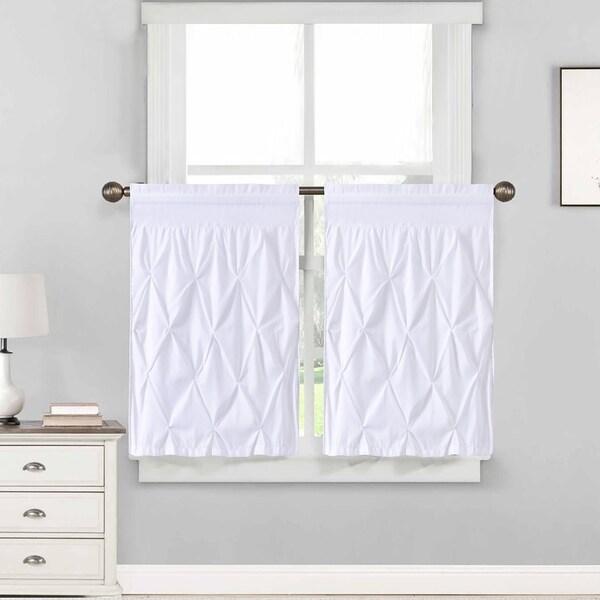 "Hudson Pintuck Window Curtain Tier Pair (36""x30"") White - 36 inch"