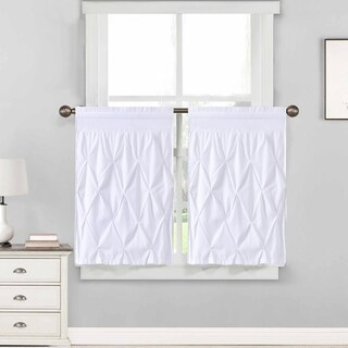 "Hudson Pintuck Window Curtain Tier Pair (24""x30"") White"