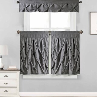 """Hudson Pintuck Window Curtain Tier and Valance Set (24""""L or 36""""L) Grey"""