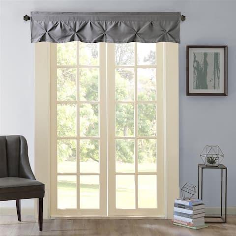 "Hudson Pintuck Window Curtain Valance (12""x60) Grey"