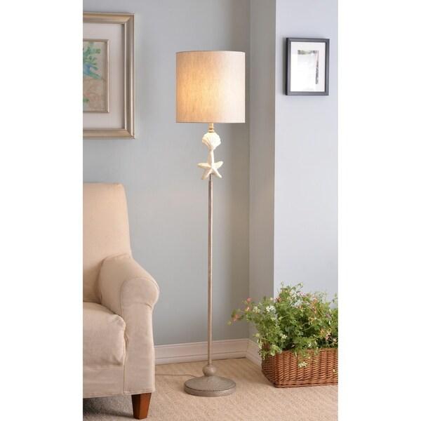 "Mediterranean 63"" Coastal Floor Lamp - Silvered Gold"