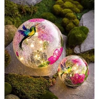 Hummingbird Crackle Glass Solar Globes, Set of 2