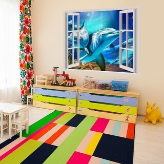 """Dolphins Sea Full Color Wall Decal Sticker AN-560 FRST Size 30""""x47"""""""