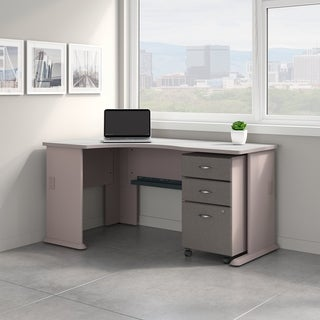 Series A Left Corner Desk with Mobile File Cabinet in Pewter and White