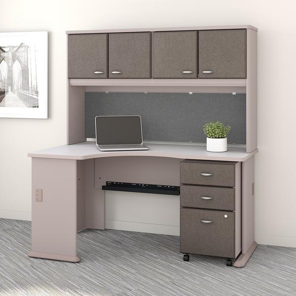 Series A Left Corner Desk Hutch File Cabinet in Pewter and White & Shop Series A Left Corner Desk Hutch File Cabinet in Pewter and ...