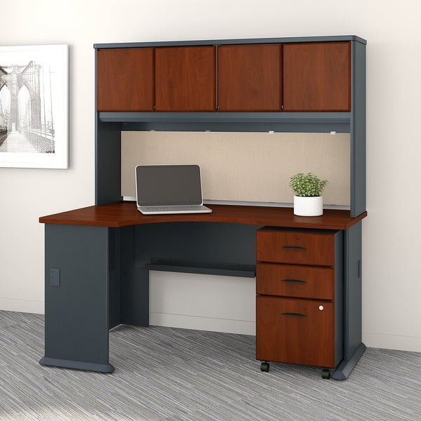 Series A Left Corner Desk, Hutch And File Cabinet In Cherry And Galaxy