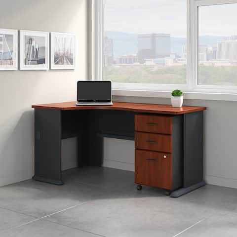 Series A Left Corner Desk with Mobile File Cabinet in Cherry