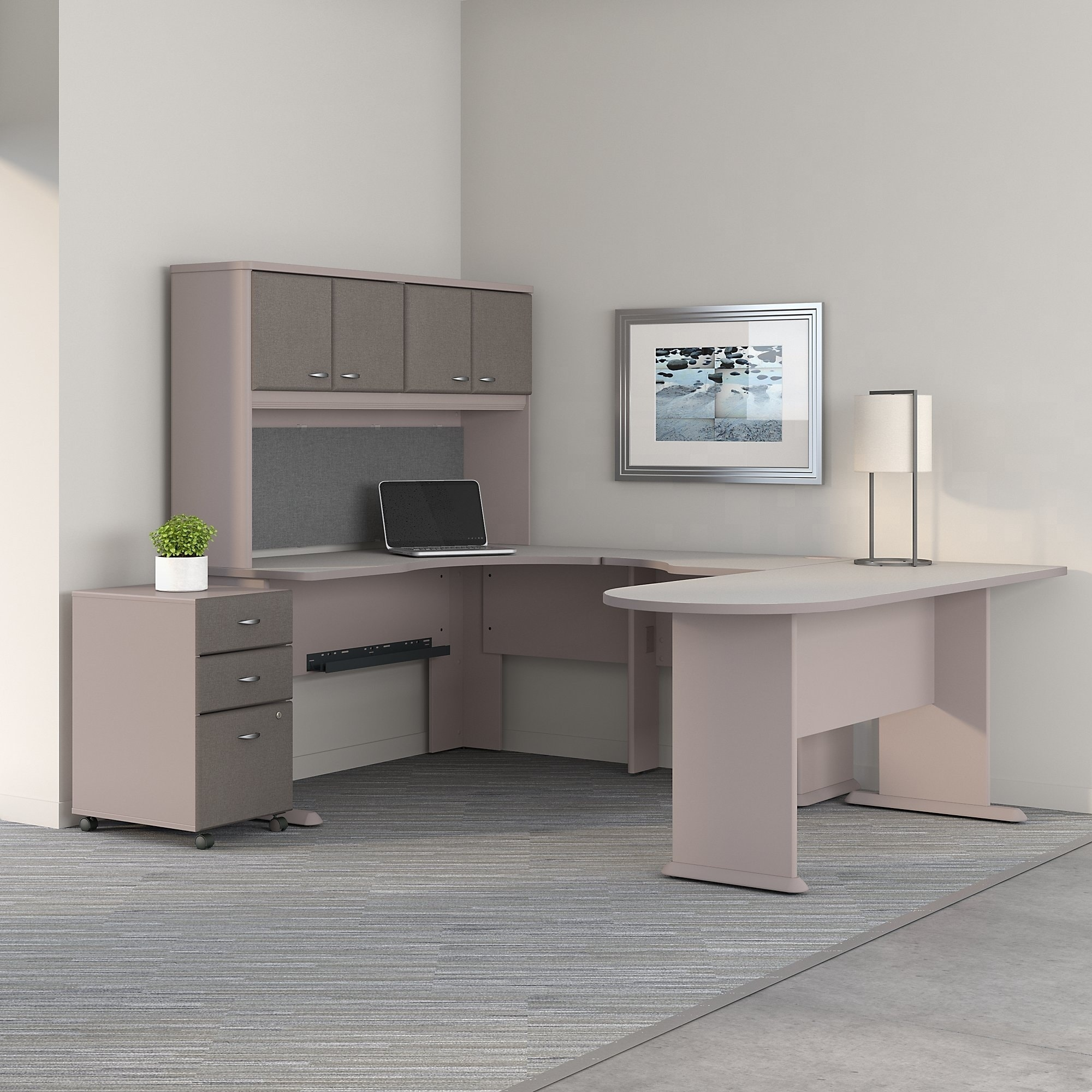 Image of: Shop Black Friday Deals On Series A U Shaped Corner Desk Hutch File Cabinet In Pewter And White On Sale Overstock 20757156