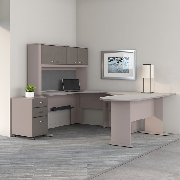 Series A U Shaped Corner Desk, Hutch, File Cabinet In Pewter And White