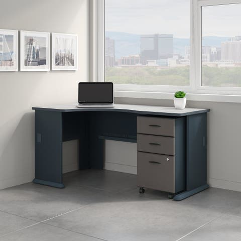 Bush Business Series A Left Corner Desk with File Cabinet in Slate