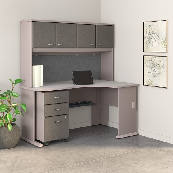 Superieur Series A Right Corner Desk, Hutch, File Cabinet In Pewter And White