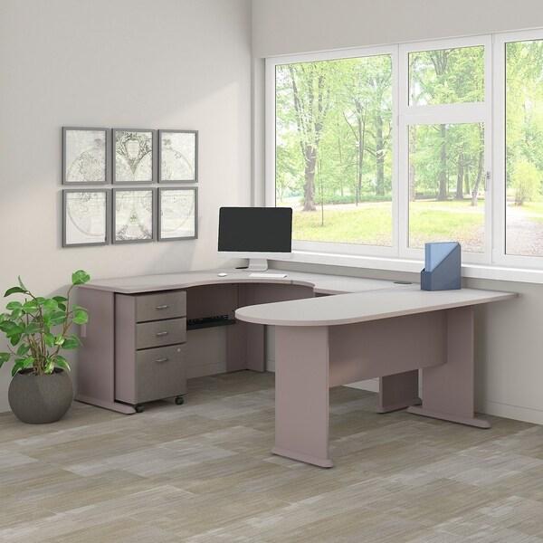 shop series a u shaped corner desk mobile file cabinet in pewter and white free shipping. Black Bedroom Furniture Sets. Home Design Ideas