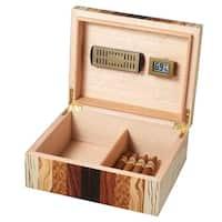 Visol Ridge Mixed Wood Cigar Humidor with Attachable Digital Hygrometer and Humidifier