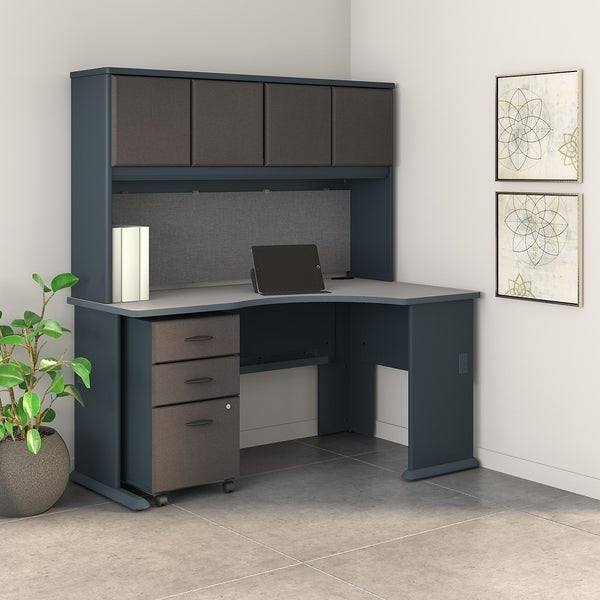 Shop Series A Right Corner Desk with Hutch and Mobile File Cabinet in Slate - Free Shipping ...