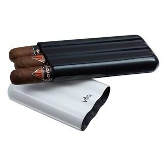 Visol Agent White & Black Carbon Fiber Cigar Case - 3 Finger