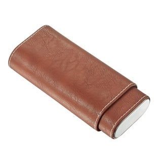 Visol Chocolate Brown Leather Cigar Case with Cedar Lining