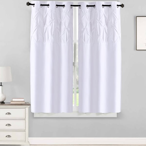 """Hudson Pintuck Window Curtain Panel Pair (63""""x38"""") White. Opens flyout."""