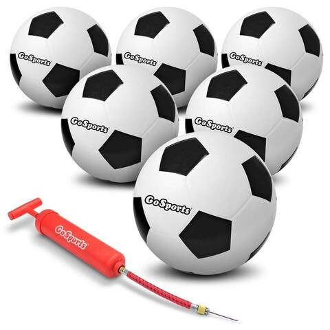 GoSports Rubber Soccerballs - 6 Pack of Size 5 Balls with Pump & Carrying Bag
