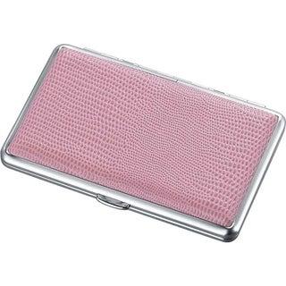 Visol La Gloria Pink Lizard Leatherette Double Sided Cigarette Case - Holds 14 100s Size Cigarettes
