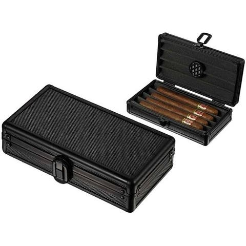 Visol Setke Black Travel Cigar Case - Holds 4 Cigars