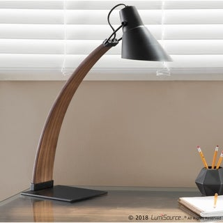 Noah Mid-Century Modern Wood and Metal Table Lamp - Thumbnail 0