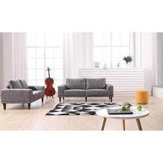 US Pride Furniture Church Mid Century Faux Leather 2 Piece Leather Living Room Set
