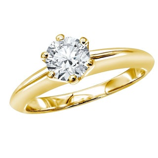 18kt Gold Round Diamond Solitaire Engagement Ring 0.75ctw by Luxurman (More options available)