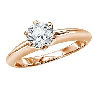 18kt Gold Round Diamond Solitaire Engagement Ring 0.75ctw by Luxurman