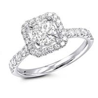 14kt Gold Halo Round Cushion Diamond Engagement Ring 1.5ctw G-H Color by Luxurman