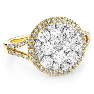 Ladies Round Diamond Engagement Rings 14kt Gold Diamond Cluster Ring 2.2ctw by Luxurman (More options available)