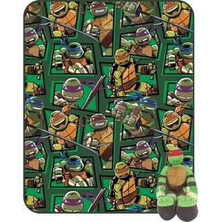"Nickelodeon Teenage Mutant Ninja Turtles 62"" X 90"" Twin Blanket with Mini Raphael Pillowbuddy Hugger"