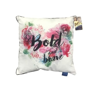 """Disney Beauty & The Beast Bold and Brave Decorative 16"""" Square Throw Pillow"""