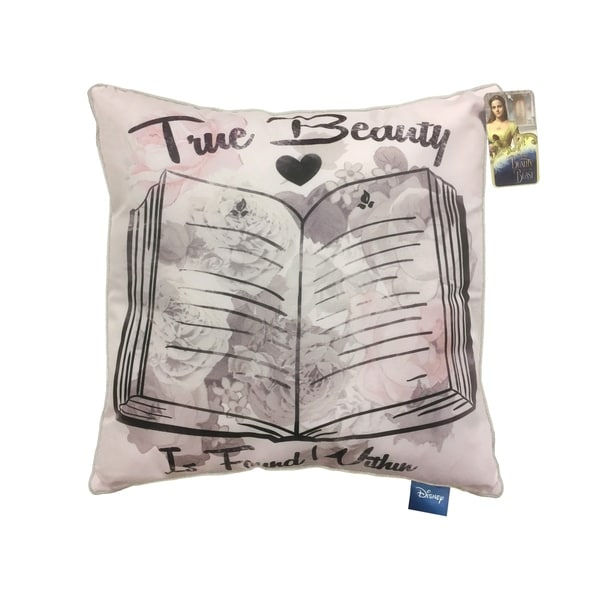 """Disney Beauty & The Beast True Beauty is Found Within 16"""" Square Decorative Pillow"""